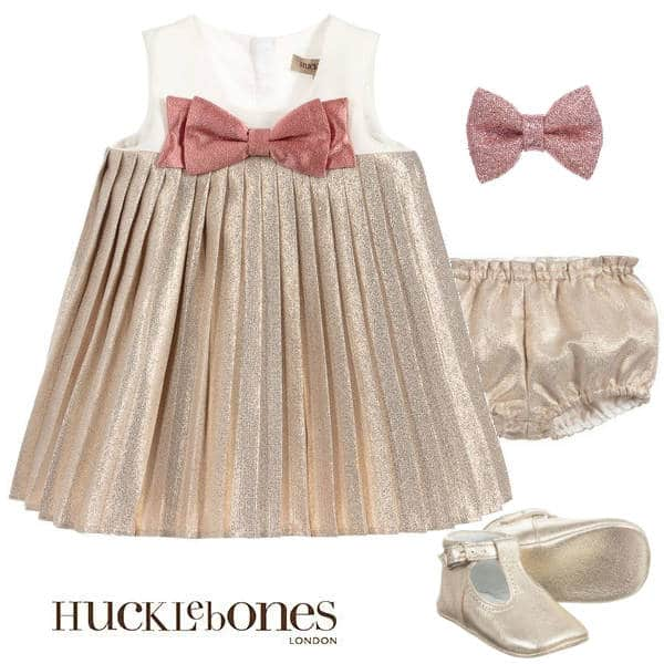 Hucklebones London Baby Girl Metallic Gold Pink Bow Party Dress Gold Shoes