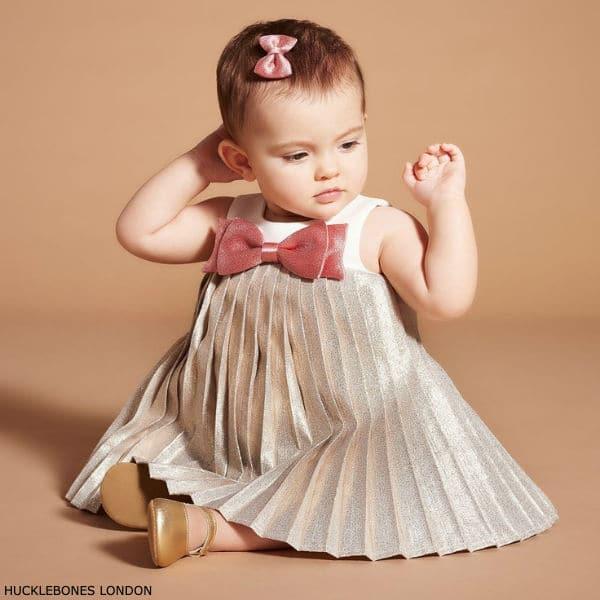 Hucklebones London Baby Girl Metallic Gold Pink Bow Party Dress