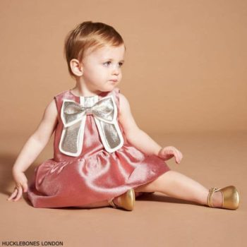 Hucklebones London Baby Girl Pink Gilded Gold Bow Party Dress