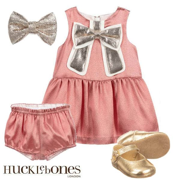 Hucklebones London Baby Girl Pink Gilded Gold Bow Party Dress Hairbow