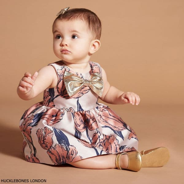 Hucklebones London Baby Girl Pink Tulip Brocade Gold Bow Party Dress
