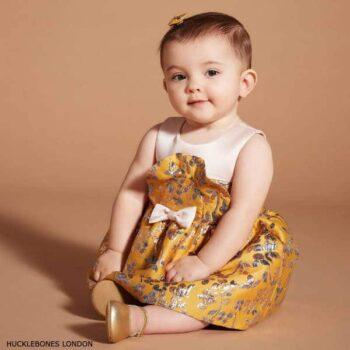 Hucklebones London Baby Girl Yellow Gold Brocade Bib Bodice Dress