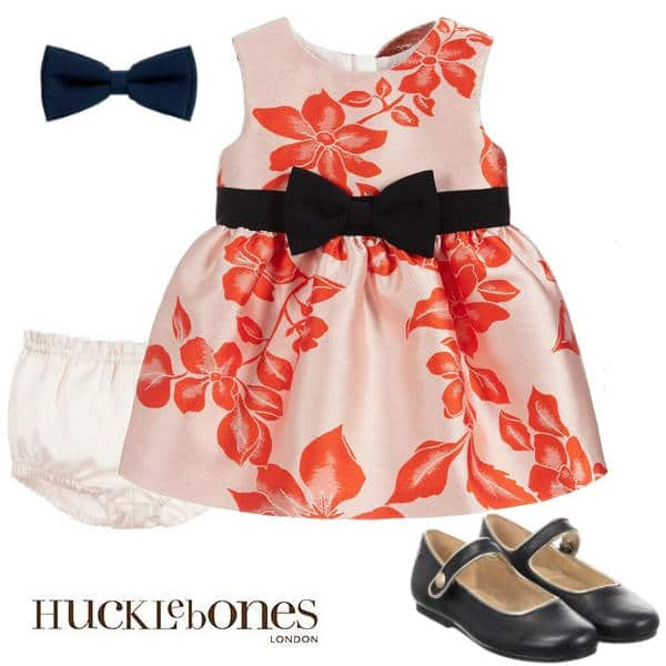 Hucklebones London Baby Girls Pink Orange Floral Party Dress Hairbow