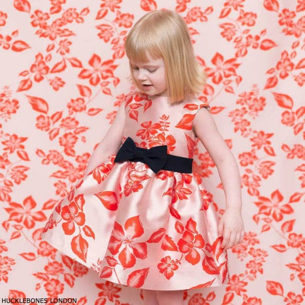 Hucklebones London Baby Girls Pink Orange Floral Party Dress