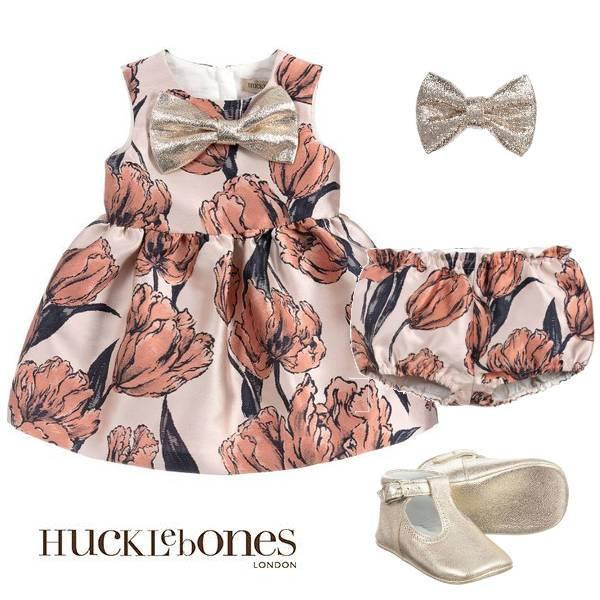 Hucklebones London Baby Girls Pink Tulip Brocade Gold Bow Party Dress