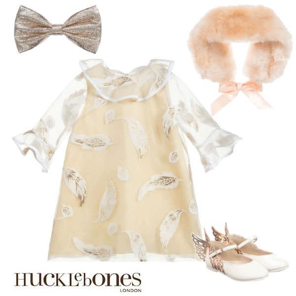 Hucklebones London Girls Gold White Chiffon Party Dress Faux Fur Collar
