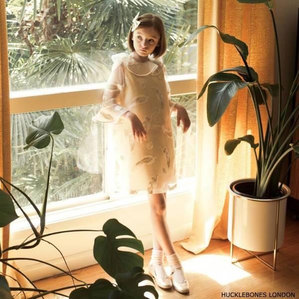 Hucklebones London Girls Gold White Chiffon Party Dress