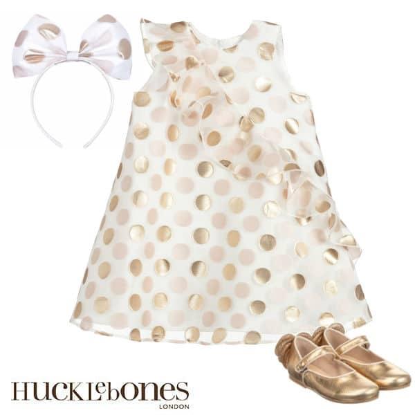 Hucklebones London Girls Ivory Gold Polkadot Organza Party Dress