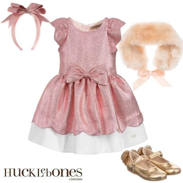 Hucklebones London Girls Pink Glitter Bow Party Dress Faux Fur Wrap