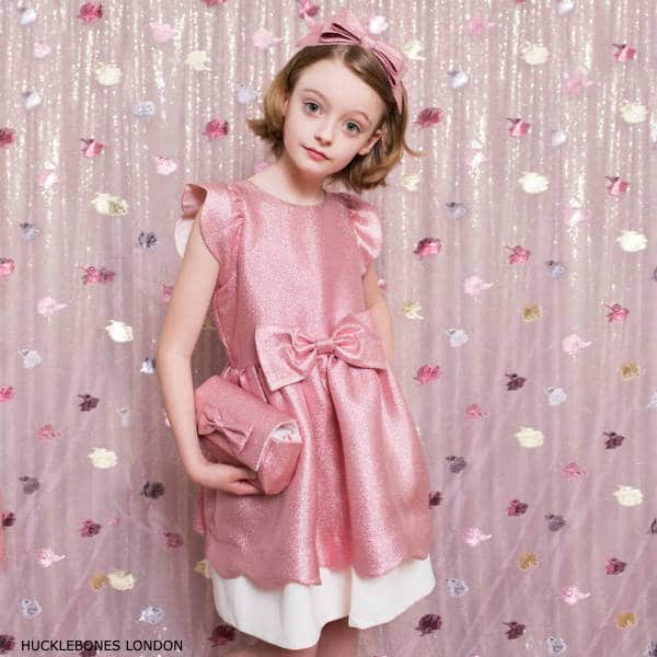 Hucklebones London Girls Pink Glitter Bow Party Dress