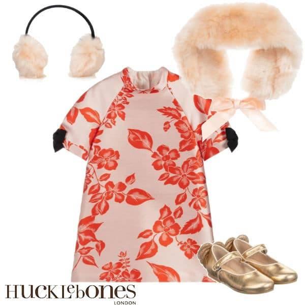 Hucklebones London Girls Pink & Orange Floral Party Dress Faux Fur Collar