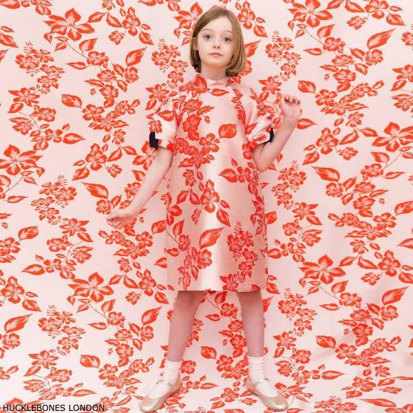 Hucklebones London Girls Pink & Orange Floral Party Dress