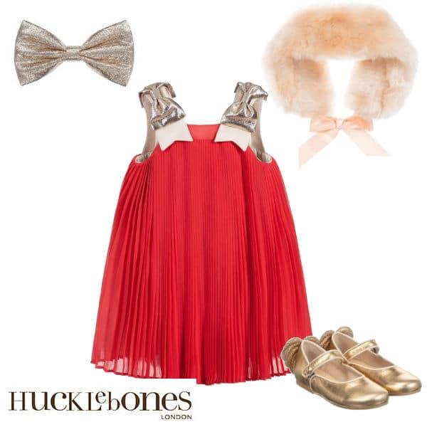 Hucklebones London Girls Pink Pleated Chiffon Special Occasion Dress