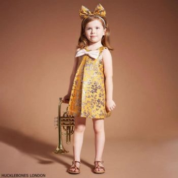 Hucklebones London Girls Yellow Gold Brocade Party Dress