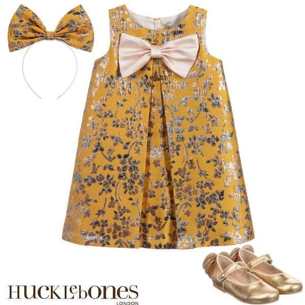 Hucklebones London Girls Yellow Gold Brocade Party Dress Hairbow