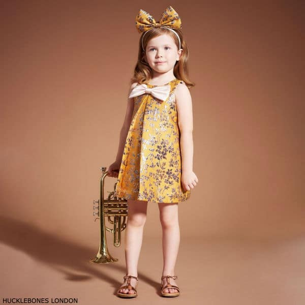 Hucklebones London Girls Yellow & Gold Brocade Party Dress