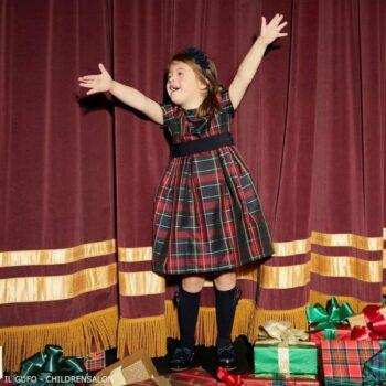 Il Gufo Girls Red Black Tartan Check Silk Christmas Party Dress