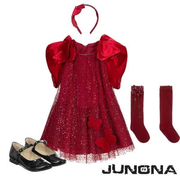 Junona Girls Red Sequin Velvet Christmas Holiday Dress