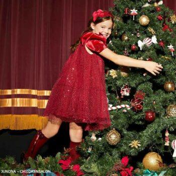 Junona Girls Red Sequin Velvet Christmas Holiday Party Dress