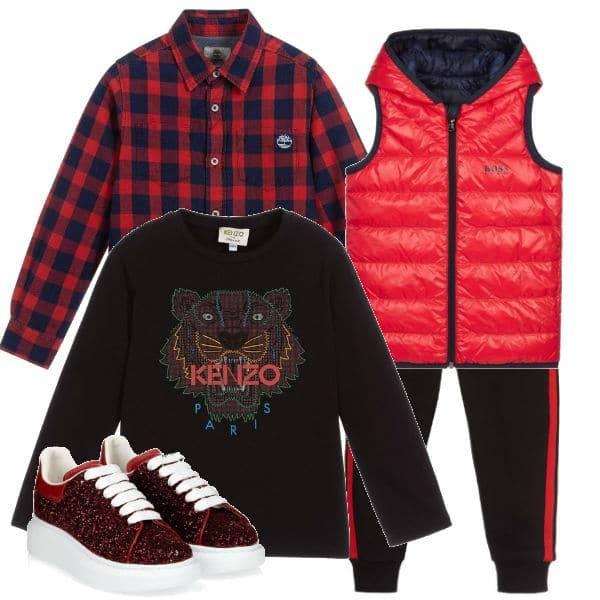 Kenzo Kids Black Tiger Shirt Boss Red Blue Down Vest Timberland check shirt