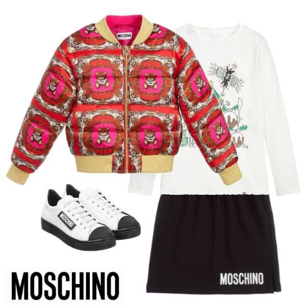 Moschino Girls Red Teddy Bear Bomber Jacket Black Logo Skirt