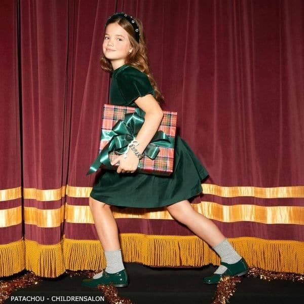 Patachou Girls Green Velvet Puffed Short Sleeve Christmas Party Dress