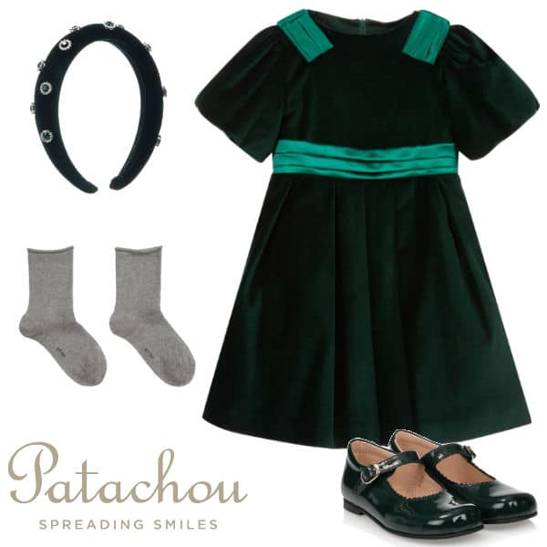 Patachou Girls Green Velvet Party Dress