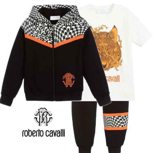 Roberto Cavalli Boy Black & Orange Houndstooth Leopard Zip-Up Hoodie Tracksuit