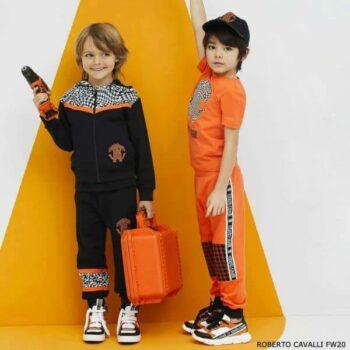 Roberto Cavalli Boys Black & Orange Houndstooth Leopard Zip-Up Hoodie Tracksuit