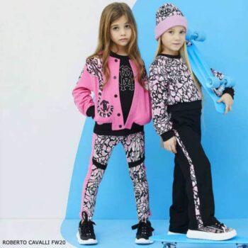 Roberto Cavalli Girl Black Pink Candy Ocelot Wild Cat Print Shirt Leggings