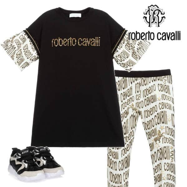 Roberto Cavalli Girls Black & Gold Logo Dress Leggings Shoes
