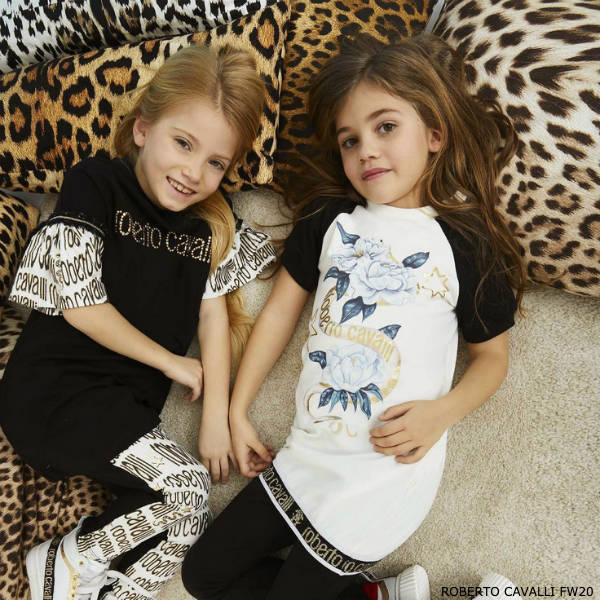 Roberto Cavalli Girls Black & Gold Logo Dress Leggings