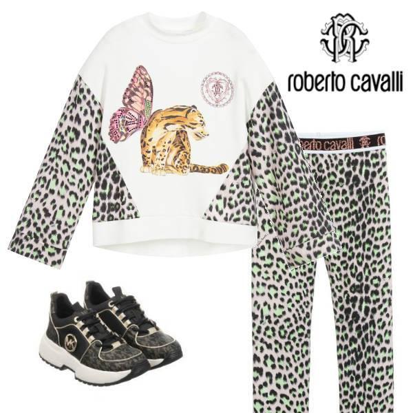 Roberto Cavalli Girls Ivory Leopard Print Butterfly Top Leggings Black Shoes