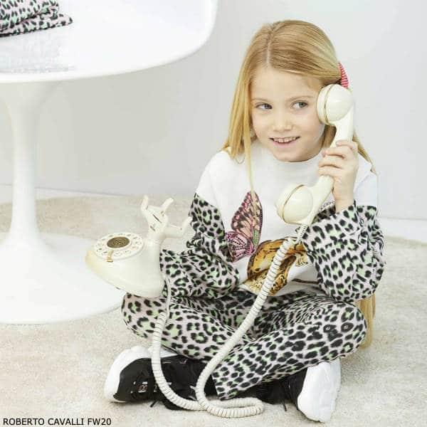 Roberto Cavalli Girls Ivory Leopard Print Butterfly Shirt & Leggings