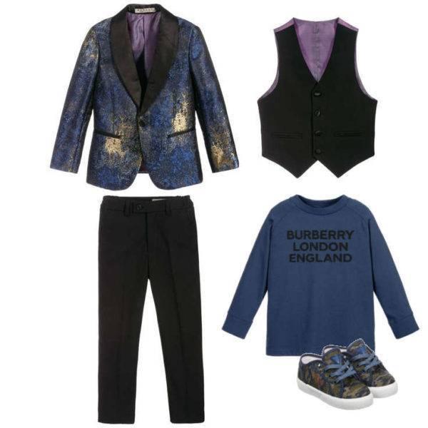 Romano Boys Blue & Gold Viscose 3 Piece Special Occasion Tuxedo Suit