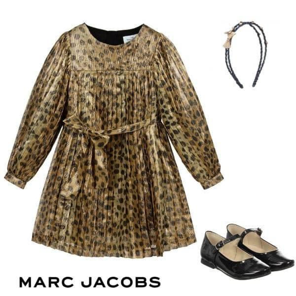 The Marc Jacobs Girls Mini Me Gold & Black Dot Leopard Print Chiffon Party Dress