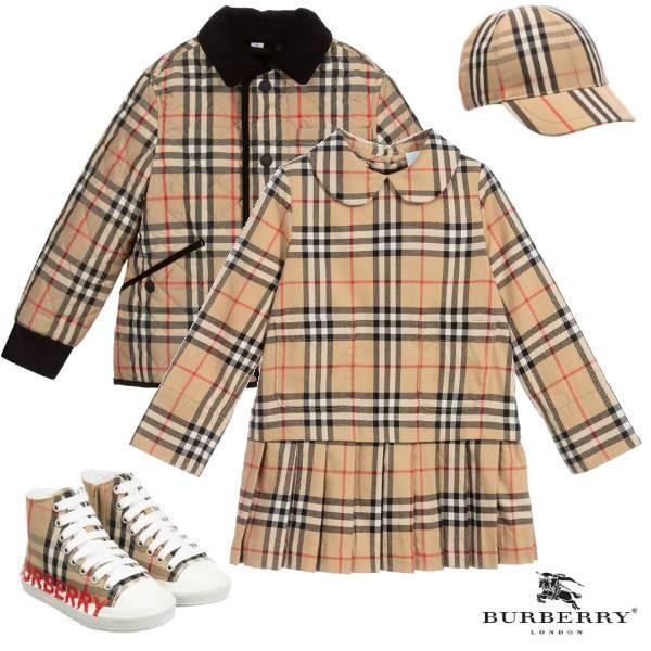 True Thompson Burberry Girls Beige Cotton Vintage Checked Long Sleeve Dress Padded Jacket