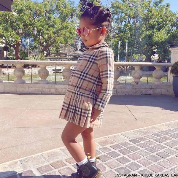 True Thompson Burberry Girls Beige Vintage Checked Long Sleeve Dress