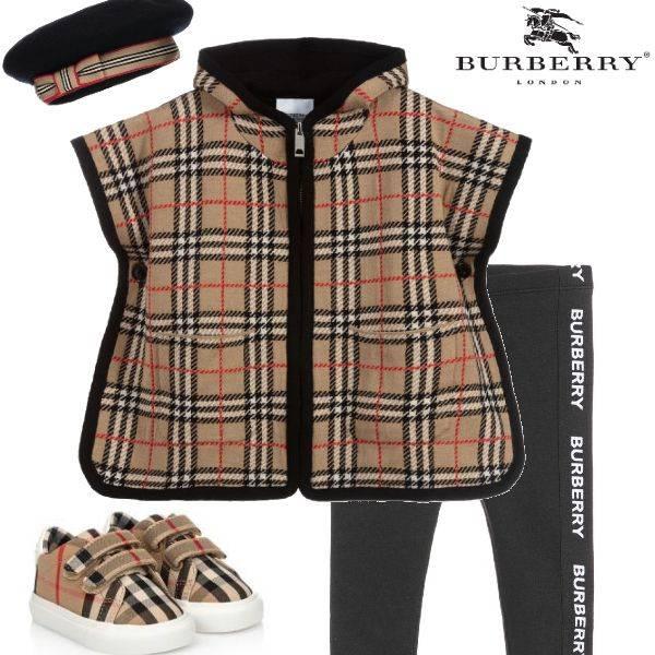 Burberry Baby Girl Merino Wool Beige Vintage Check Cape
