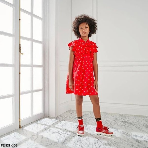 Fendi Girls Red Kaligraphy Logo Bow Dress