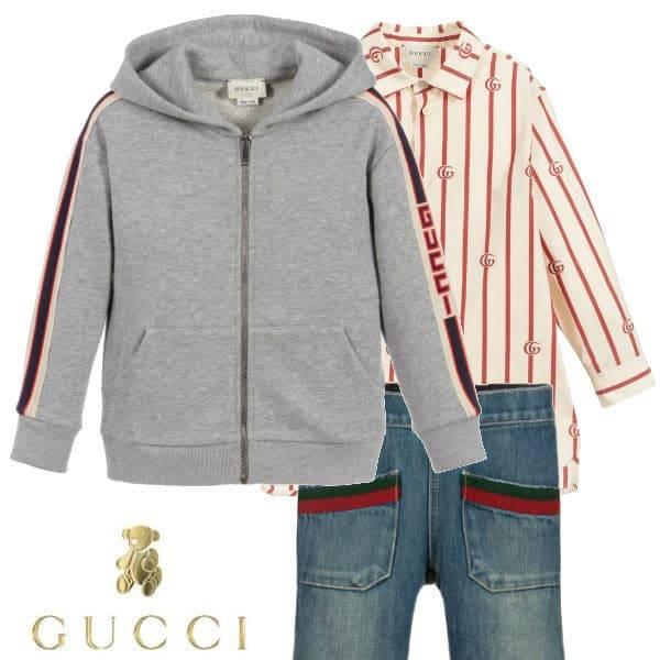 Gucci Boys Ivory & Red GG Striped Shirt Grey Logo Sweatshirt Blue Jeans