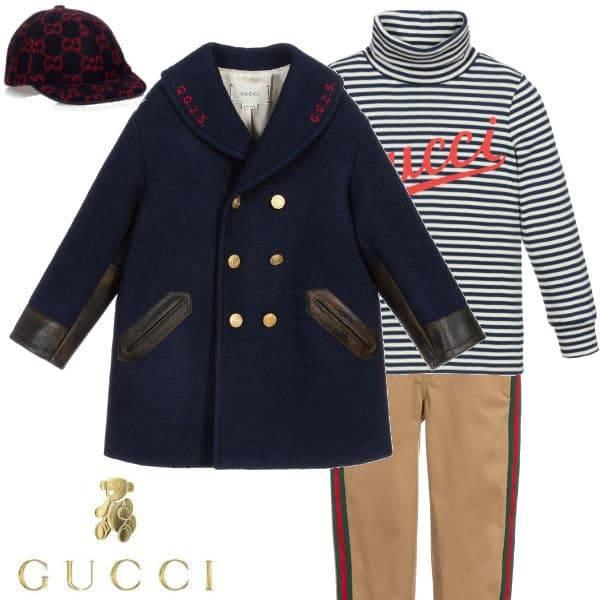 Gucci Boys Mini Me Navy Blue Wool Pea Coat White Blue Stipe Turtleneck