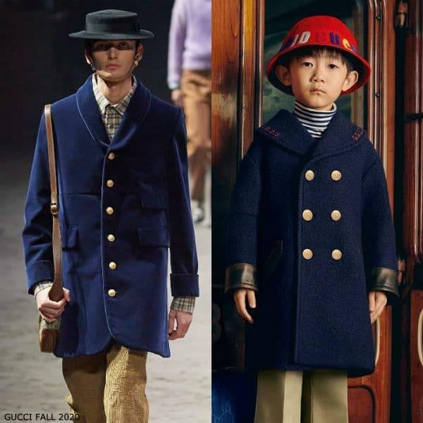 Gucci Boys Mini Me Navy Blue Wool Pea Coat