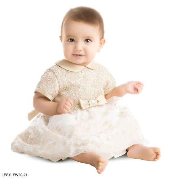 Lesy Baby Girl Gold & Ivory Lace Party Dress