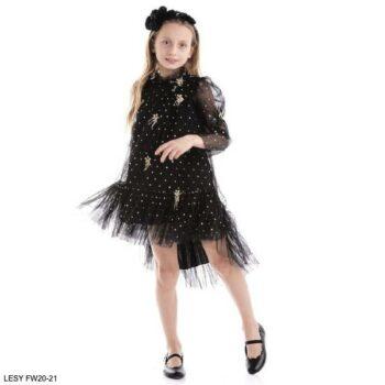 Lesy Girls Black & Gold Polka Dot Tulle Floral Party Dress