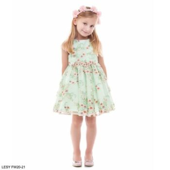 Lesy Girls Green Flower Embroidered Tulle Party Dress