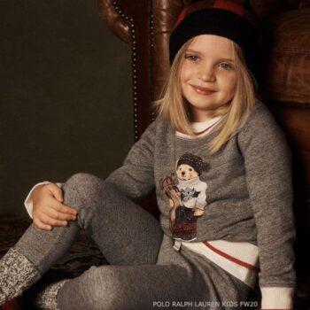 Polo Ralph Lauren Girls Grey Knitted Bear Logo Sweater