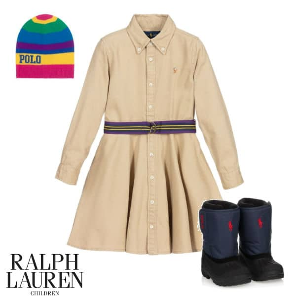 Polo Ralph Lauren Girls Khaki Beige Cotton Shirt Dress Colorful Hat