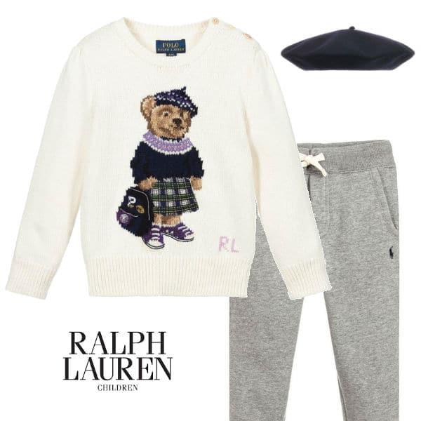 Polo Ralph Lauren Girls White Knitted Bear Logo Sweater Grey Sweatpants