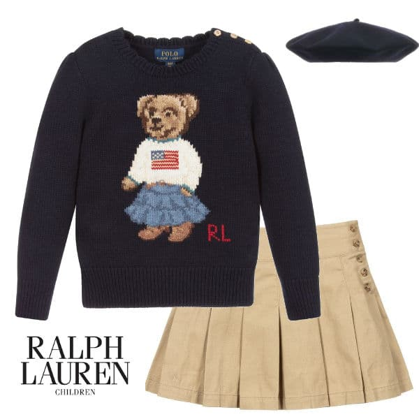 Polo Ralph Lauren Navy Blue Bear Flag Logo Knitted Sweater Brown Skirt
